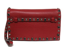 New $2290 Valentino Rockstud Rosso Leather Medium Clutch Wristlet Bag - $1,468.04
