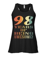 Vintage 98 Years Old Birthday Gift Flowy Racerback Tank for Men Women - $26.95+