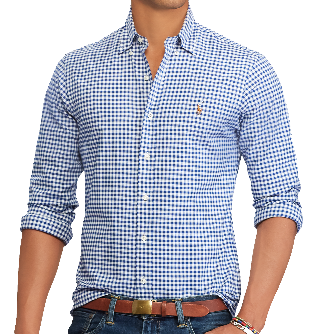 ef534d37 Polo Ralph Lauren Mens Slim Fit Gingham Oxford Shirt, BSR Royal/White, L  3069-6 - $74.24