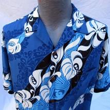 Hilo Hattie Hawaiian Aloha Shirt Size XL Swirling Floral Pattern Blue Rayon - $39.99