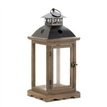 Large Monticello Clear Glass Wood Candle Lantern - $35.57