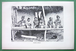 BURMA Burmese Artisans Make Baskets - 1880s Antique Print - $13.49