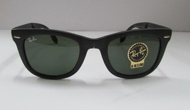 Ray-Ban Sunglasses Folding Wayfarer RB4105 Black Green G15 Lens 601S/50 ... - £66.71 GBP