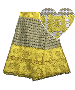 Nigerian Cord Lace Fabric High Quality African Lace Guipure Fabric Brida... - $86.97