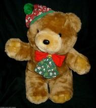 "14"" VINTAGE CUDDLE WIT CHRISTMAS HAT BROWN TEDDY BEAR STUFFED ANIMAL PLU... - $32.73"