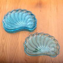 5 Vintage Hazel Atlas Capri Blue Seashell Snack Plates - $37.39