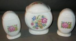 Vintage Grease Jar & Salt & Pepper Shakers Needlepoint Floral 1949 - £42.87 GBP