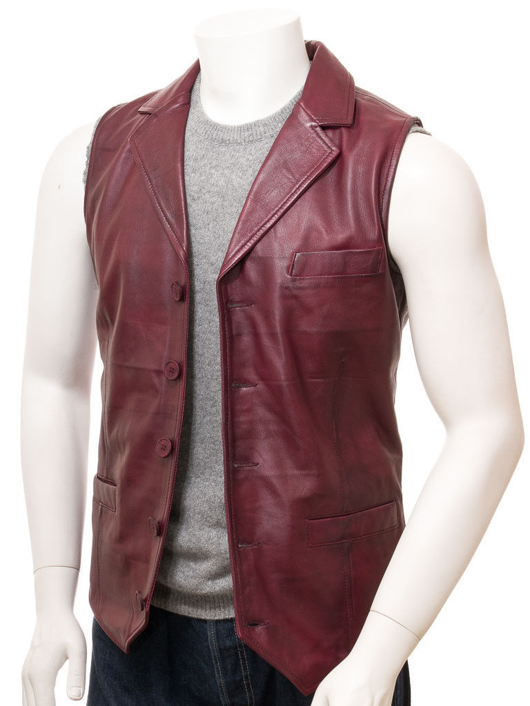QASTAN Men's New Maroon Motorbike Leather MOTO VEST QMV06B