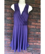 Venus Purple Sundress Small Soft Ruched V-Neck Stretch Sun Dress Halter ... - $14.85