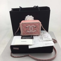 NEW AUTH CHANEL 2019 PINK CAVIAR TURQUOISE FILIGREE CC VANITY CASE BAG RARE