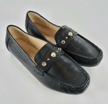 Isaac Mizrahi Live! Leather Moccasins with Faux Pearls Alyssa, Black, 8.... - $30.69