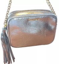 Victoria's Secret Fashion Show Silver Cross Body Tassel Gold Chain Purse Bag - $29.99