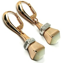 18K WHITE & ROSE GOLD PENDANT EARRINGS WITH LANTERN DROP, ZIRCONIA MOTHER PEARL image 1