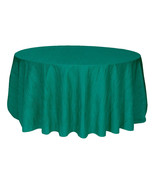 Crinkle Taffeta Teal Table Cloth for Round Tables, Tablecloths for Weddings - $38.99