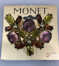 Monet Purple Green Brown Crystal Pin Brooch Goldtone Signed NEW 1 3/4 x ... - $33.81