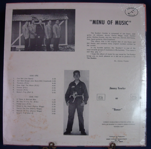 "The Buddy's Combo - Jimmy Fowler as ""Boner"" - MENU OF MUSIC - SEALED"