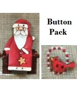 BUTTON PACK 2pc set (santa cardinal) wooden han... - $15.00