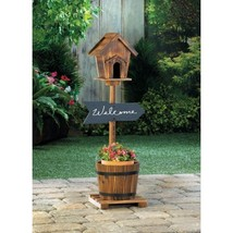 Plant Stand Basket and Bird House Garden Yard Decor - New - $48.26