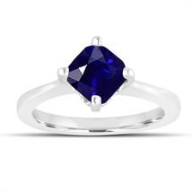 1.75 Carat Sapphire Solitaire Engagement Ring, Cushion Cut Bridal 14K Wh... - $2,900.00
