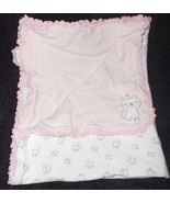 Carter's Just One You Kitty Baby Blanket Pink White Stripes Cats Cotton ... - $16.22