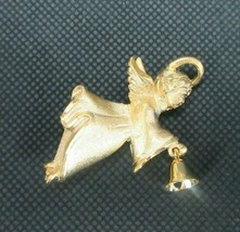 Vintage Costume Jewelry, Gold Tone Angel Ringing Bell Brooch, Signed GG ... - $9.75