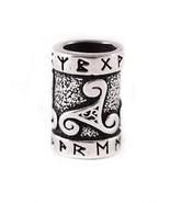 925 Sterling Silver Viking Beard Hair Bead Dreadlocks Runes Celtic Trisk... - $28.37