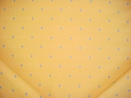 12-1/4Y KRAVET SKY BLUE YELLOW EMBROIDERED FLEUR DE LYS UPHOLSTERY FABRIC - $213.84