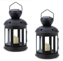 Two (2) Colonial star black metal glass hanging candleholder patio deck ... - $19.00