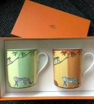 Hermes Porcelain Africa Mug Cup Tableware Orange Green 2 set Animal New ... - $434.43