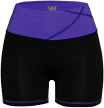 Women's W Sport Two Tone Athletic Work Out Fitness Stretch Gym Shorts AP-4815 image 2