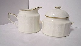 Noritake CHANDON Creamer and Sugar Set With Lid Gold Trim White Floral on Ivory - $53.41