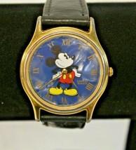 Vintage Lorus Quartz Mickey Mouse Disney Watch V500-7A30 Black Leather U... - $14.99