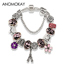 2019 Antique Silver Color Eiffel Tower P Charm Bracelet Crystal Flower B... - $18.71