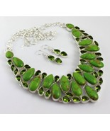 Green Copper Turquoise-Peridot Silver Overlay Jewelry Necklace 104 Gr. F... - $47.52