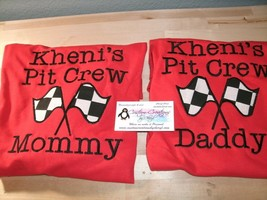 Racing Pit Crew Mom And Dad Personalized Birthday Shirts Both Shirts - $37.19