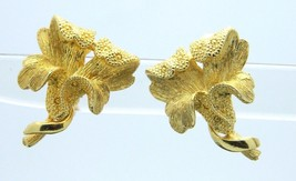 CORO Gold Tone Flower Clip-On Earrings Vintage - $19.79