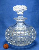 Old Block Pattern Crystal Decanter And Stopper Cut Glass Decanter Antique Carafe - $38.00