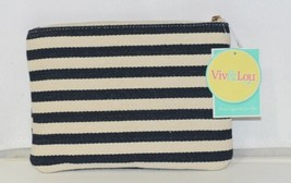 Viv and Lou M728VLCSTRP Black White Stripe Chandler Zip Pouch image 1