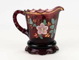 Jefferson Scalloped Skirt Amethyst Creamer w Floral, Antique EAPG c1904 ... - $19.60