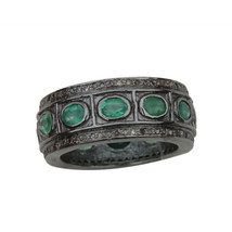 Emerald Gemstone Bezel Setting Band Ring Diamond .925 Sterling Silver Je... - $102.85