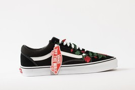 Vans Rose embroidered customs available in all sizes black and white image 2