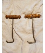 VINTAGE BOOT PULL HOOKS PULLER RIDING WOODEN HANDLE - $45.00