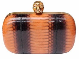 ALEXANDER MCQUEEN Pink & Brown Python Glory crystal skull bag clutch 805... - $1,695.00