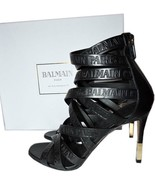 $1190 BALMAIN Charlotte Strappy Gladiator Leather Sandals Pumps Shoe 38 ... - $479.99