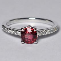 Natural Orange Sapphire Diamond Solitaire Statement Ring Women 14K White... - $1,599.00