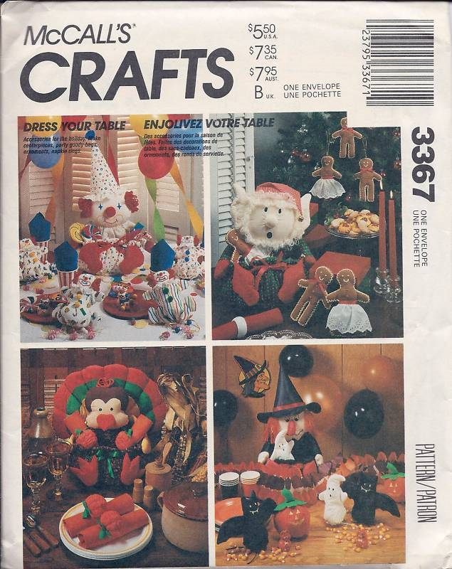 M874 / 3367 Christmas Thanksgiving Halloween Table Decor Pattern image 1