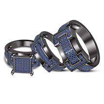 Blue Sapphire His & Her Wedding Trio Ring Set 14k Black Gold Finish 925 ... - $173.99