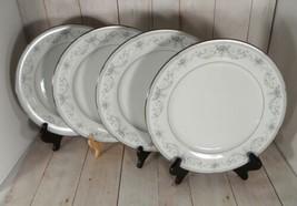 Noritake China COLBURN Dinner Plate (s) LOT OF 4 Platinum Trim 6107 Japan - $29.65
