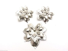 Signed Sarah Coventry Silvery Maple Brooch Ears Silver 1960 Vintage Book Piece - $26.92