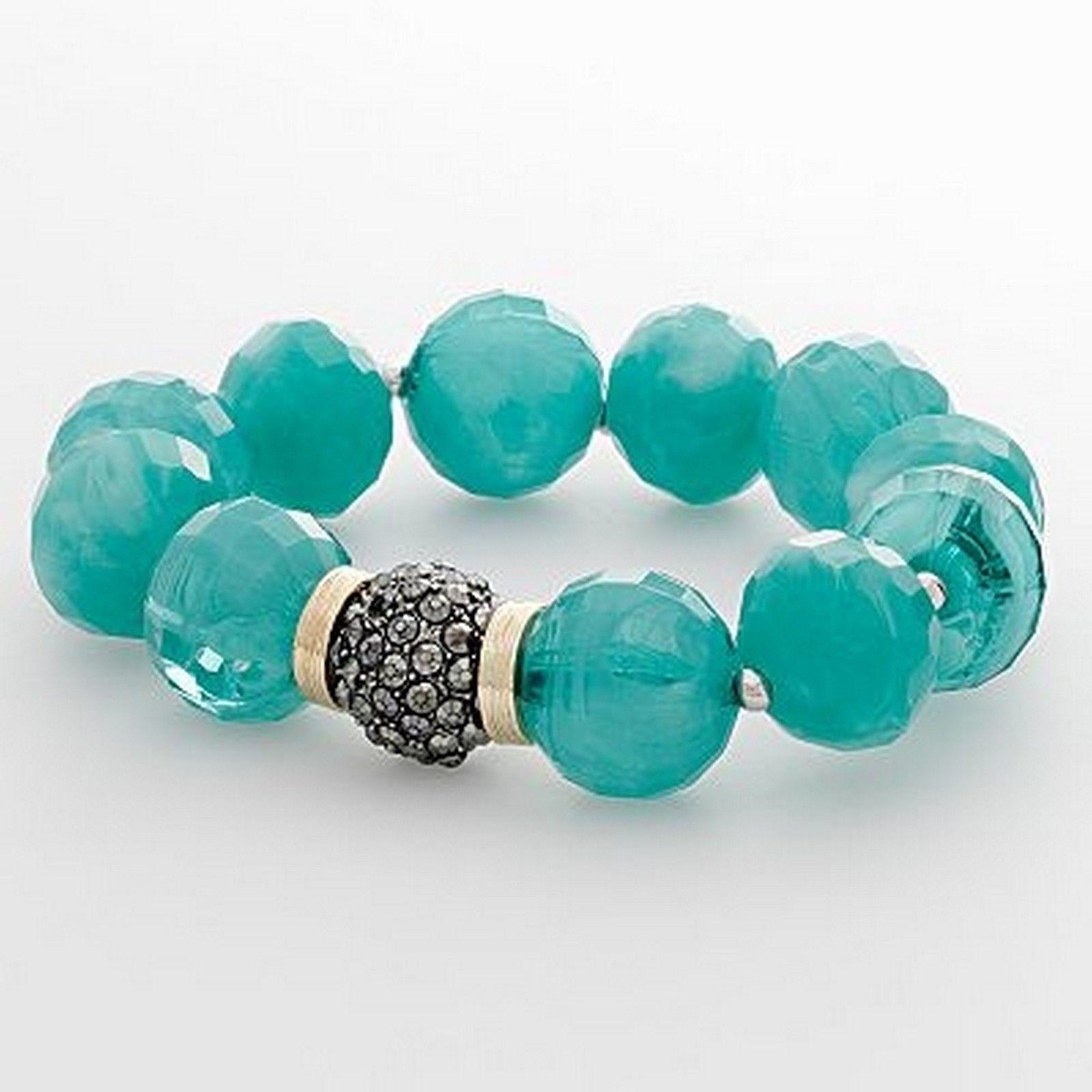 Napier Tri Tone Faceted Aqua Bead Stretch Bracelet Nickel Safe